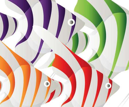 aqu�rio: Colored fish Background, set of colored fish  Ilustra��o