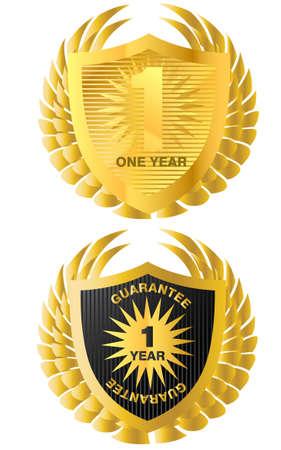 Golden guarantee and warranty label. Vector