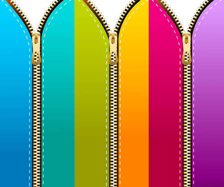 zip: Set of colored zippers background.