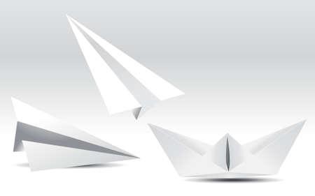 aerei: aeroplani di carta del bambino e la barca,  Vettoriali