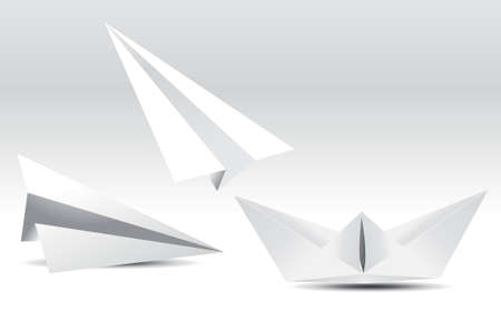 paper plane: child paper airplanes and boat,