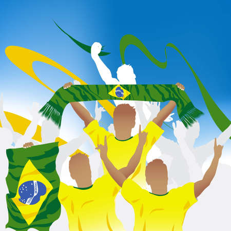 Crowd of soccer fan and three soccer players with scarf and flag.