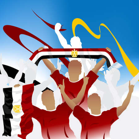 flag of egypt: Multitud de fans de f�tbol y tres jugadores de f�tbol con bufanda y bandera.