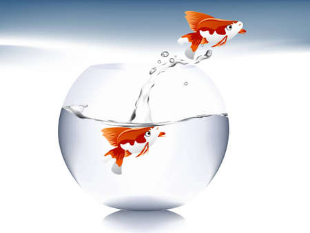 A goldfish jumping out of the water to escape to freedom. Stock Vector - 7867077