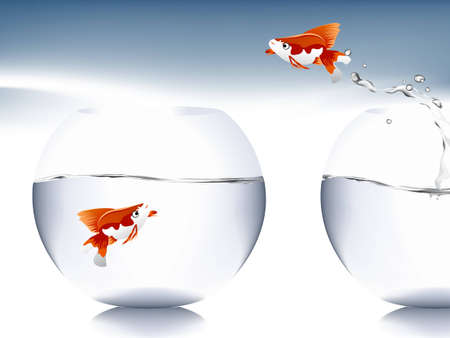 goldfish jump: A goldfish jumping out of the water to escape to freedom.