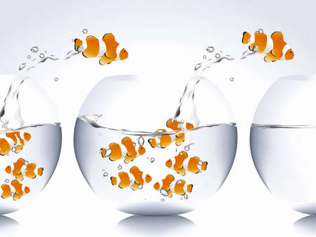 goldfish jump: clown fish jumping from bowl to another one. Illustration