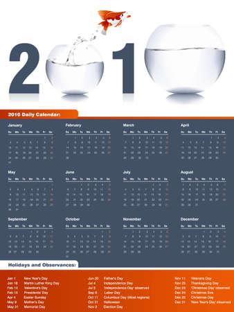 almanacs: 2010 Calendar, easy to edit.
