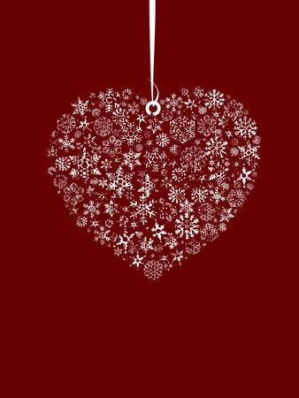 Concepto de día de San Valentín, conjunto de snowflahes como corazón y pequeño Ángel del amor.