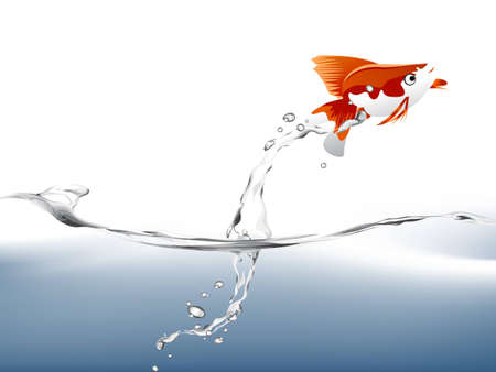 water tanks: A goldfish jumping out of the water to escape to freedom.