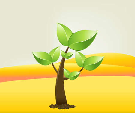 small Green tree in front of gold hills . Stock Vector - 7867054