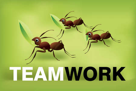 Team Work Spirit, set of ants working together . Stock Vector - 7867017