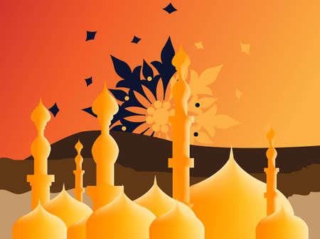 feter: Simple Illustration for Islamic Events Like Ramadan Month, Feter Eid, Adha Eid Illustration