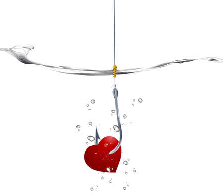 fishhook: Valentines Day Concept, fishhook prick red heart into the water.