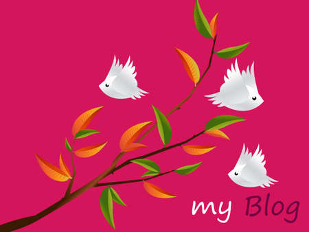 lovebirds: Lovebirds Character flying togetherness around twig, cartoon Illustration.