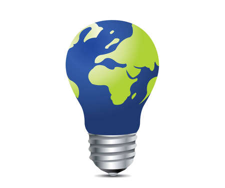 global thinking: Light  incandescent lamp, Ideas and creativity concept Illustration .