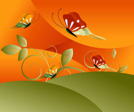Editable illustration of butterflies in field