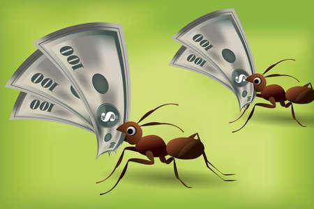 Team Work Spirit, set of ants working together . Stock Vector - 7867185