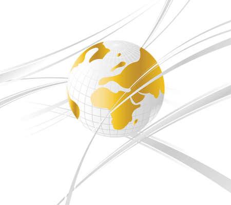 lineas onduladas: Abstracta y fondo de negocio con el mapa del mundo y l�neas onduladas.  Vectores