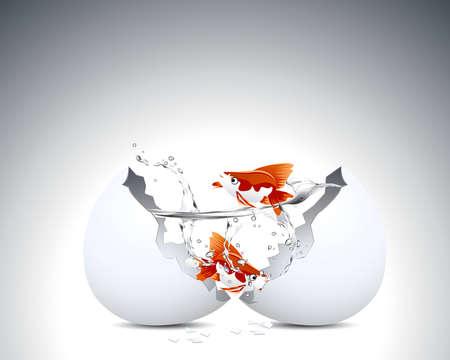 Dos peces dorados en la cáscara de huevo