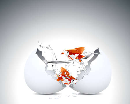 eggshells: Two golden fish into egg shell