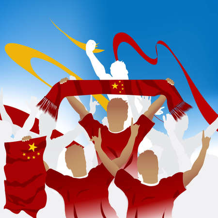chinese fan: Crowd of soccer fan and three soccer players with scarf and flag.