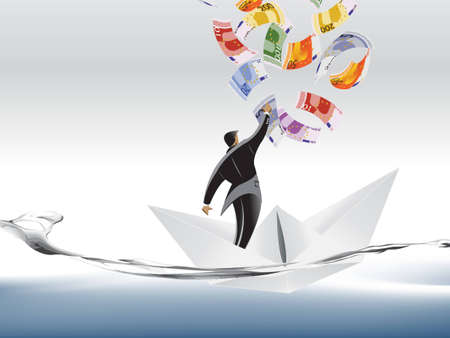 Vector illustration of Businessman trying to catch money on paper boat. illustration