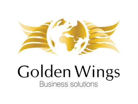 global thinking: Golden Business logo for smart business corporations Stock Photo