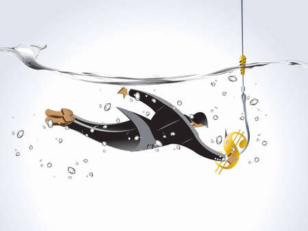 Business concept, businessman into the water trying to catch the money, business and risk. Stock Photo - 8047618