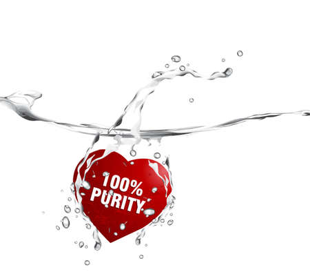 purity: Valentines Day Concept, red heart diving into the water with text message 100% purity.