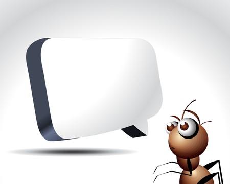 animal idiot: Antic Ant Character, cartoon Illustration.