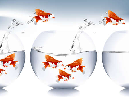 A goldfish jumping out of the water to escape to freedom. Stock Vector - 8299452