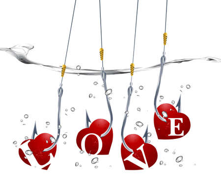 Valentine's Day Concept, fishhooks prick red hearts into the water. Stock Vector - 8299556
