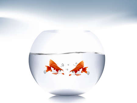 gold fish bowl: A goldfish jumping out of the water to escape to freedom.