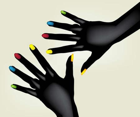 finger nail: Illustration of colorful painted fingernails on pair of black hands, isolated on light background.  Illustration