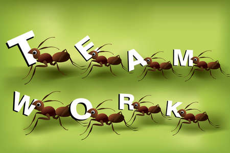Team Work Spirit, set of ants working together . Stock Vector - 8307809