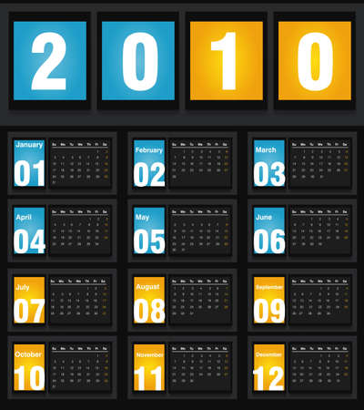 almanac: illustration of 2010 Calendar, easy to edit. Illustration