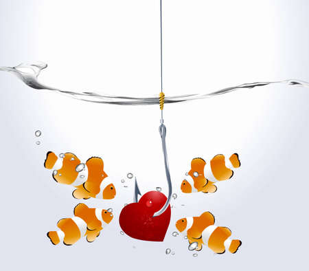 prick: Valentines Day Concept,group of clownfish looking at fishhooks prick red hearts. Illustration