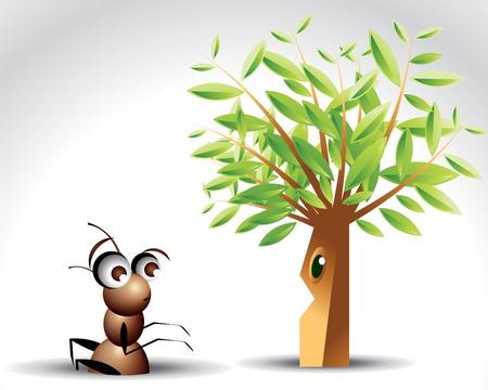 hormiga hoja: Carácter de Ant antigua, ilustración de dibujos animados.