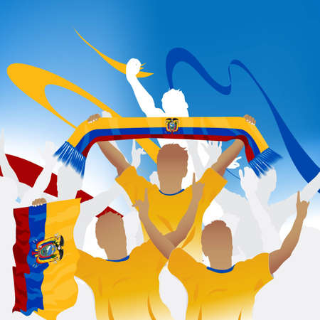 ecuador: Crowd of soccer fan and three soccer players with scarf and flag.