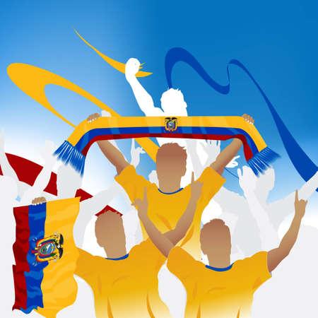 ecuador: Menigte van voet bal fan en drie voet bal spelers met sjaal en vlag.