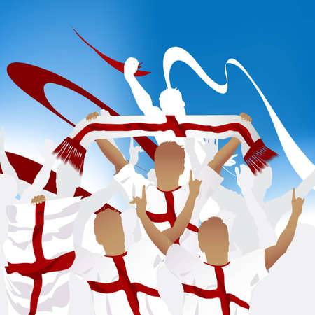 Crowd of soccer fan and three soccer players with scarf and flag. Vector