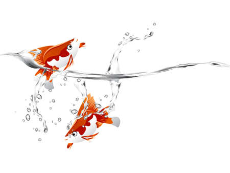 A goldfish jumping out of the water to escape to freedom.  Vector