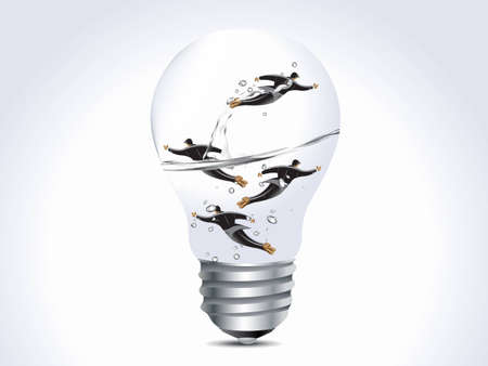 Business concept, four businessmen into lamp, limited opportunity. Vector