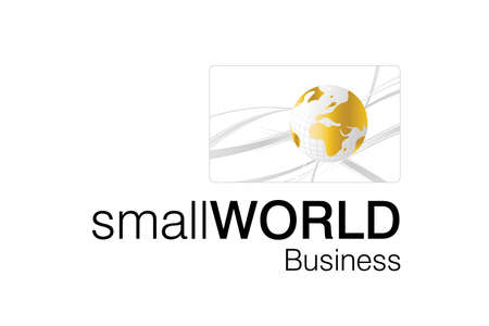 import and export business: Small World Business logo for smart business corporations.