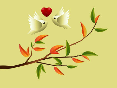 Valentines Day Concept, lovebirds flying togetherness around twig. Vector