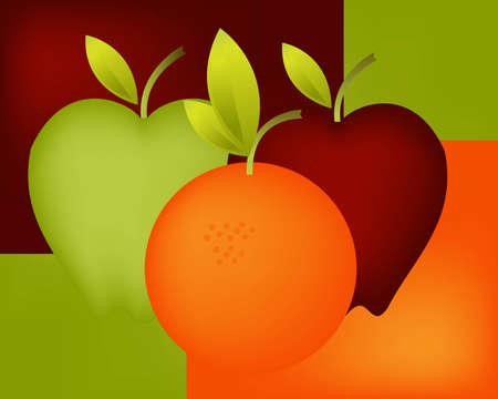 citrus tree: Ilustraci�n de arte para la fruta fresca y saludable.
