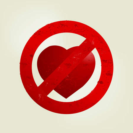 don't: Valentines Day Concept, Dont love sign.