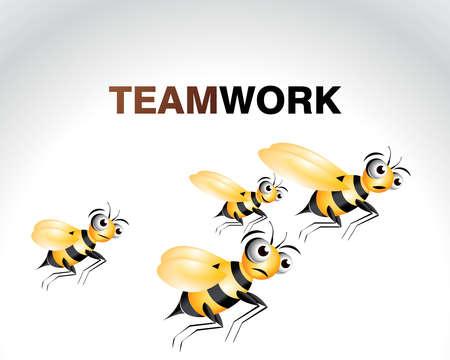 cute bee: Happy Bee Character, cartoon Illustration.