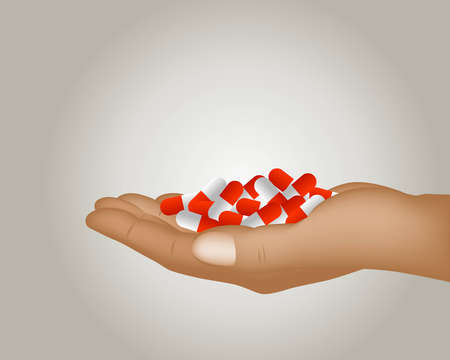 Hand holding set of Pills, Medical Insurance Concept. photo