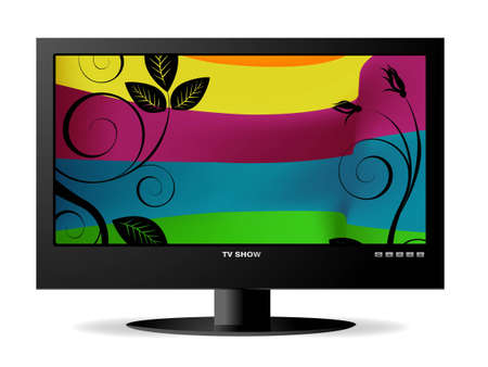 frontal view of widescreen lcd monitor, and colored bird on branch and rainbow background. photo